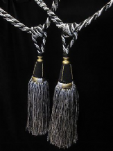 Black white & gold curtain tassel tiebacks - PER PAIR - Tass  33cm Embrace 82cm